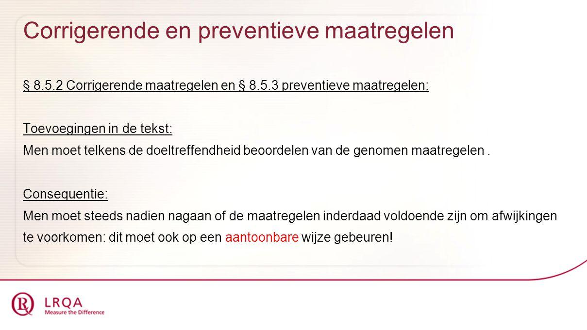 Corrigerende en preventieve maatregelen