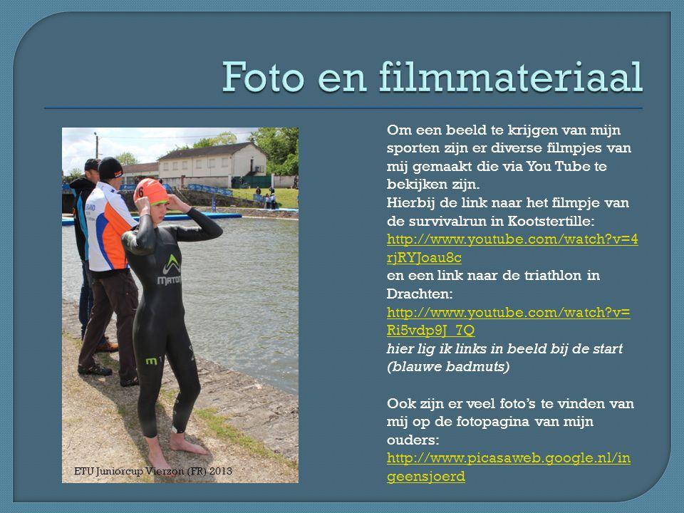 Foto en filmmateriaal Om een beeld te krijgen van mijn sporten zijn er diverse filmpjes van mij gemaakt die via You Tube te bekijken zijn.