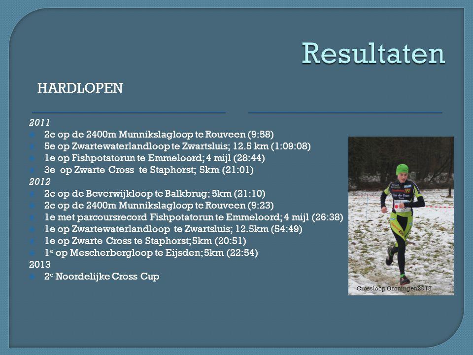 Resultaten Hardlopen. 2011. 2e op de 2400m Munnikslagloop te Rouveen (9:58) 5e op Zwartewaterlandloop te Zwartsluis; 12.5 km (1:09:08)