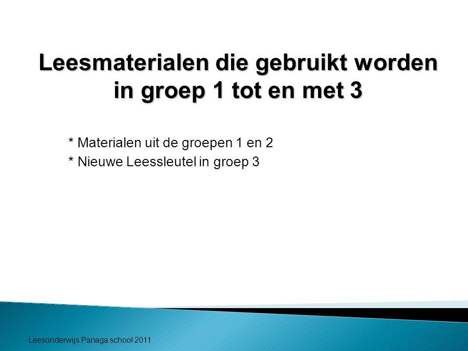 Leesmaterialen die gebruikt worden in groep 1 tot en met 3