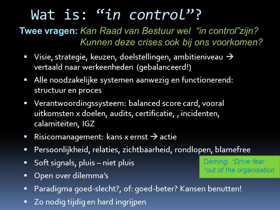 Wat is: in control Twee vragen: