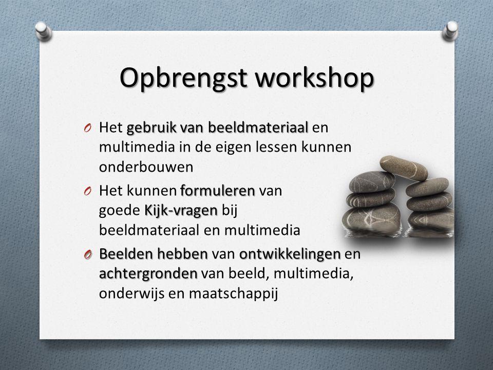 Opbrengst workshop Het gebruik van beeldmateriaal en multimedia in de eigen lessen kunnen onderbouwen.