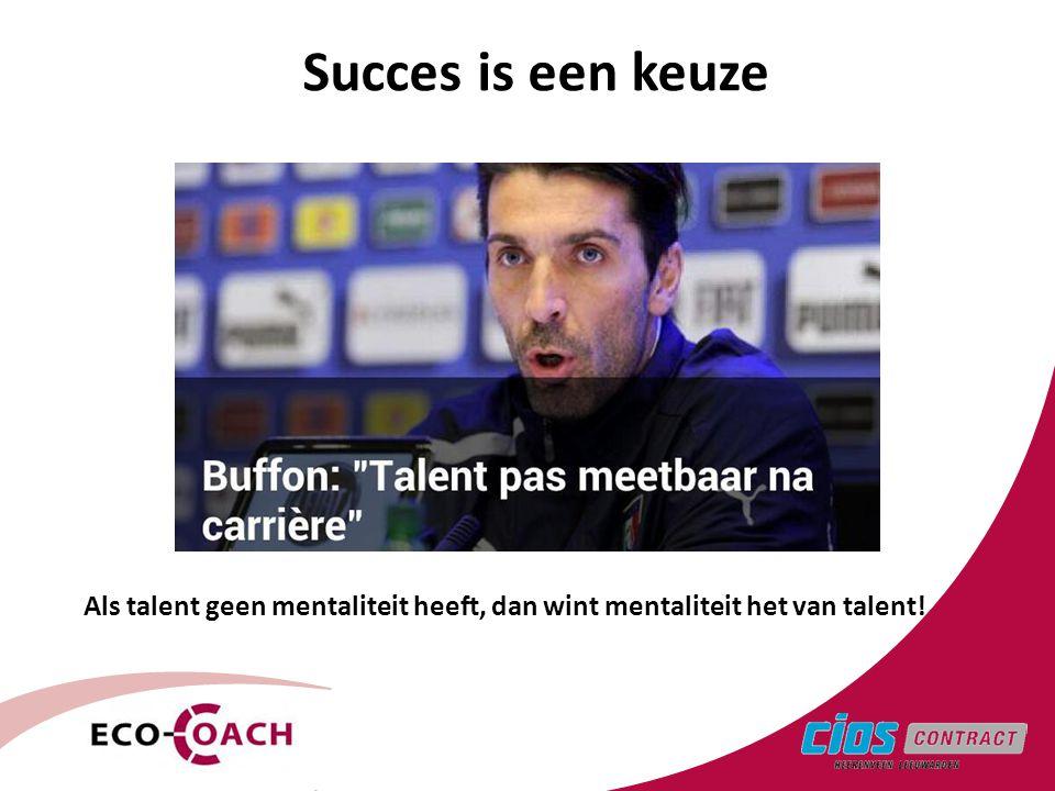 Succes is een keuze 3 Als talent geen mentaliteit heeft, dan wint mentaliteit het van talent!