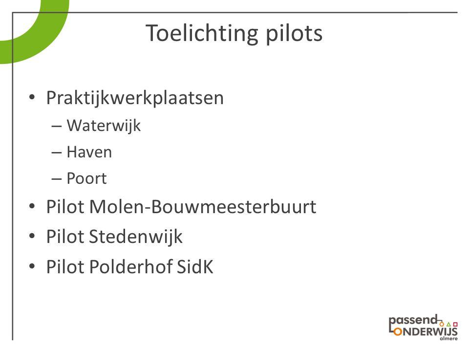 Toelichting pilots Praktijkwerkplaatsen Pilot Molen-Bouwmeesterbuurt