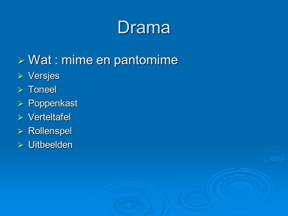Drama Wat : mime en pantomime Versjes Toneel Poppenkast Verteltafel