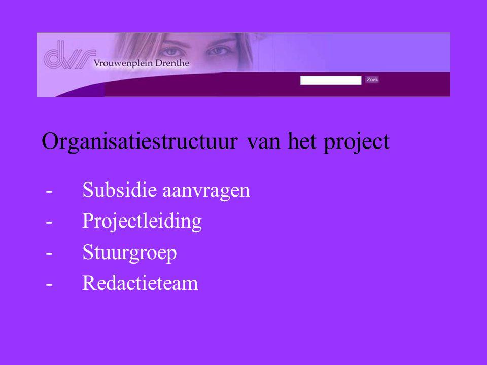 Organisatiestructuur van het project