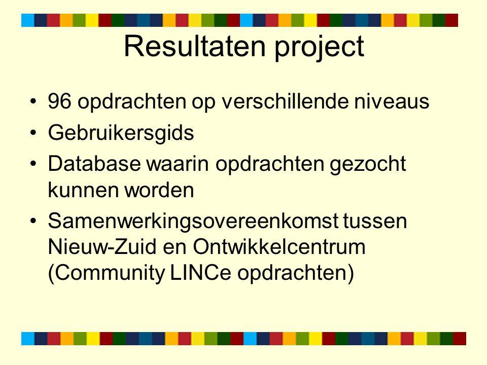 Resultaten project 96 opdrachten op verschillende niveaus