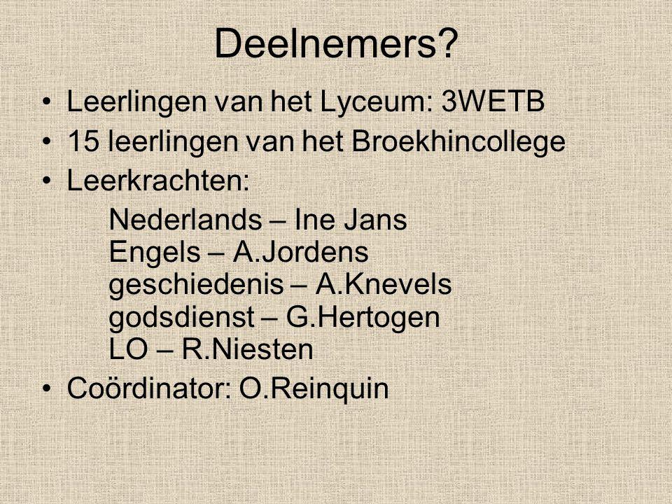 Deelnemers Leerlingen van het Lyceum: 3WETB