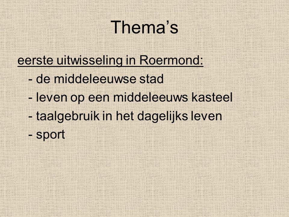 Thema's eerste uitwisseling in Roermond: - de middeleeuwse stad