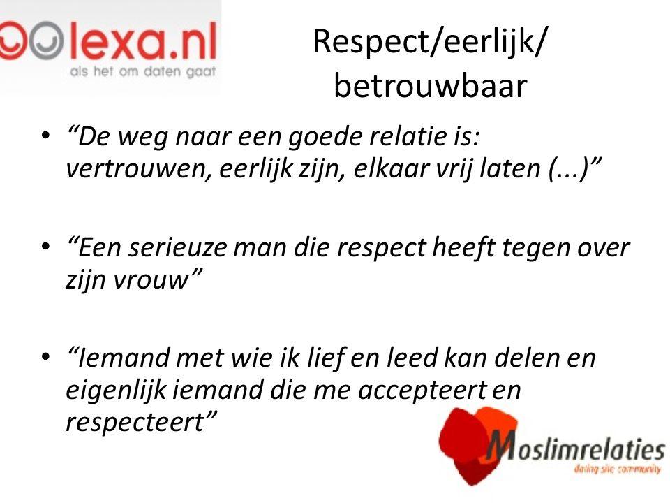 Respect/eerlijk/ betrouwbaar