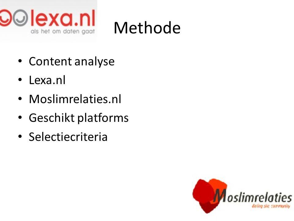 Methode Content analyse Lexa.nl Moslimrelaties.nl Geschikt platforms