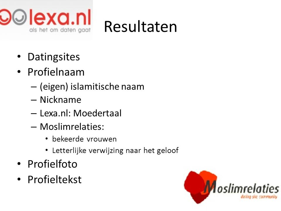 Resultaten Datingsites Profielnaam Profielfoto Profieltekst