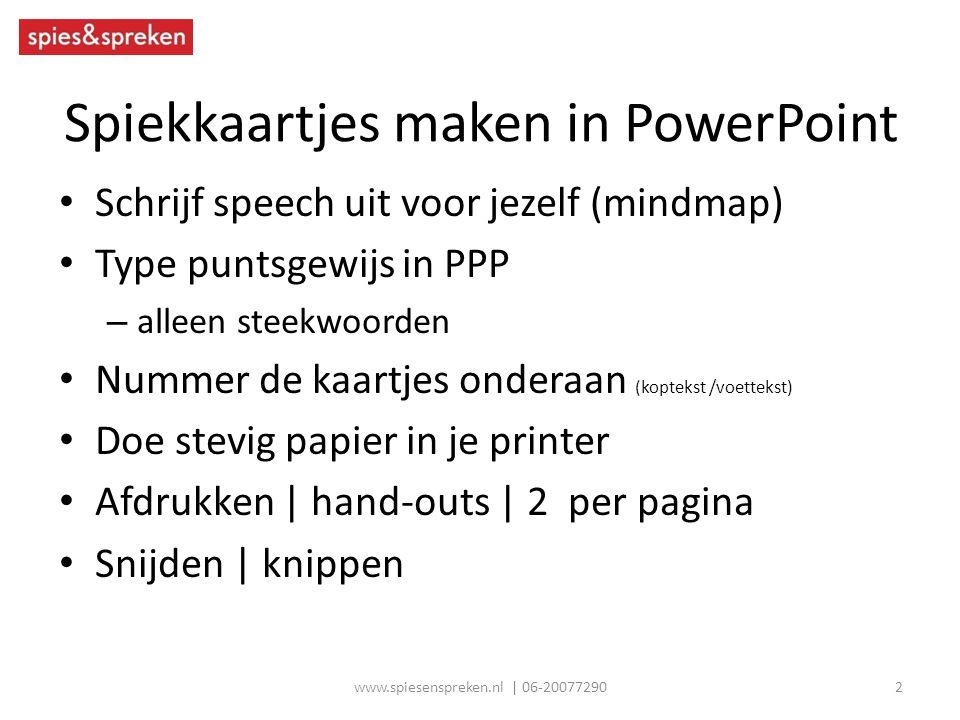Spiekkaartjes maken in PowerPoint