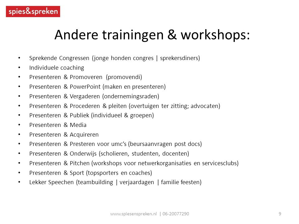 Andere trainingen & workshops: