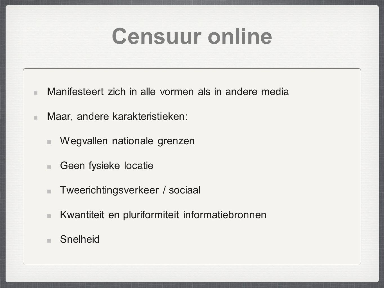 Censuur online Manifesteert zich in alle vormen als in andere media