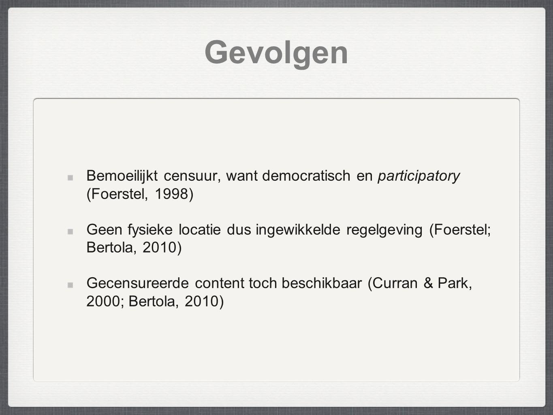 Gevolgen Bemoeilijkt censuur, want democratisch en participatory (Foerstel, 1998)