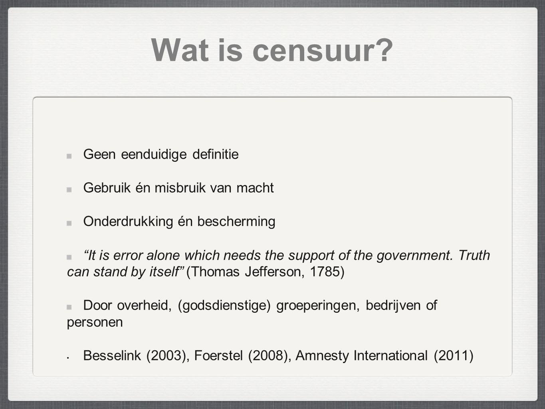 Wat is censuur Geen eenduidige definitie