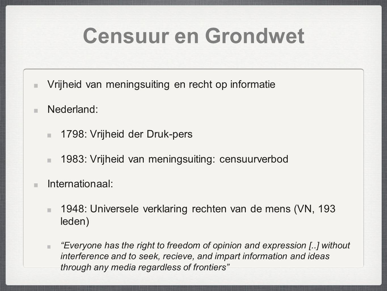 Censuur en Grondwet Vrijheid van meningsuiting en recht op informatie