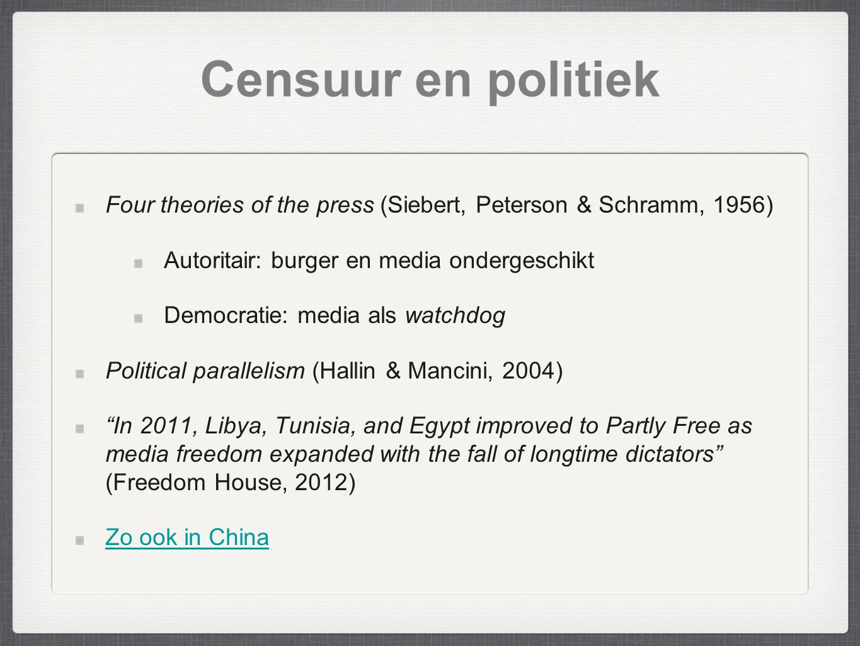Censuur en politiek Four theories of the press (Siebert, Peterson & Schramm, 1956) Autoritair: burger en media ondergeschikt.