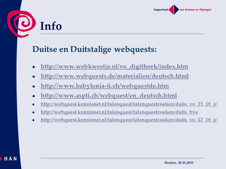 Info Duitse en Duitstalige webquests: