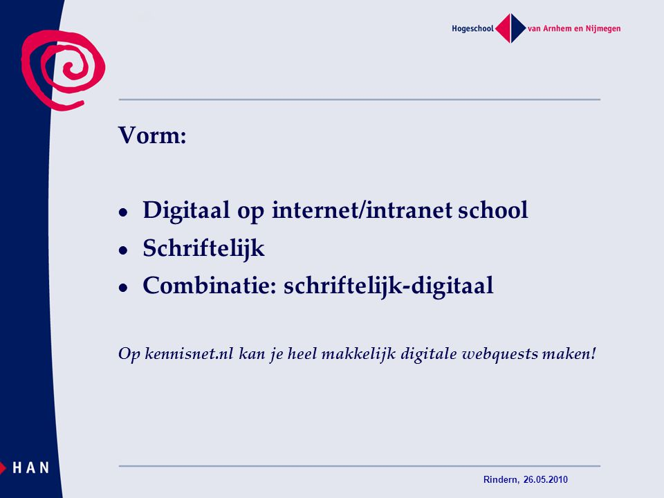 Digitaal op internet/intranet school Schriftelijk