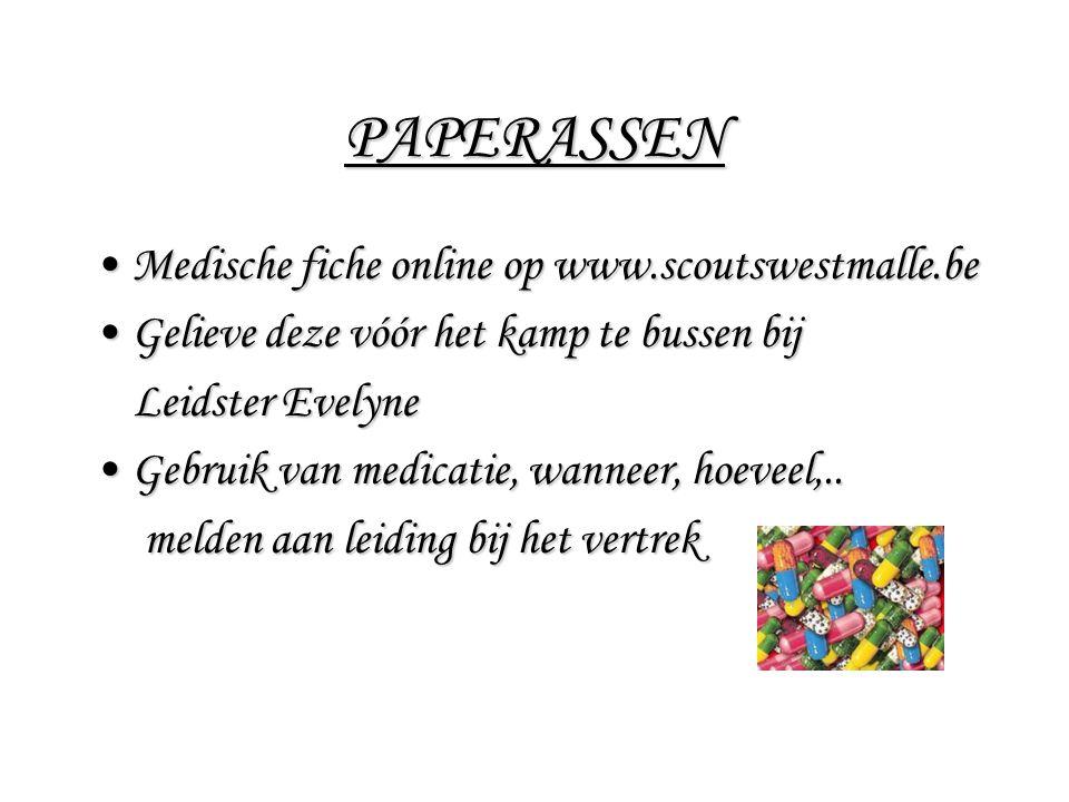 PAPERASSEN Medische fiche online op www.scoutswestmalle.be