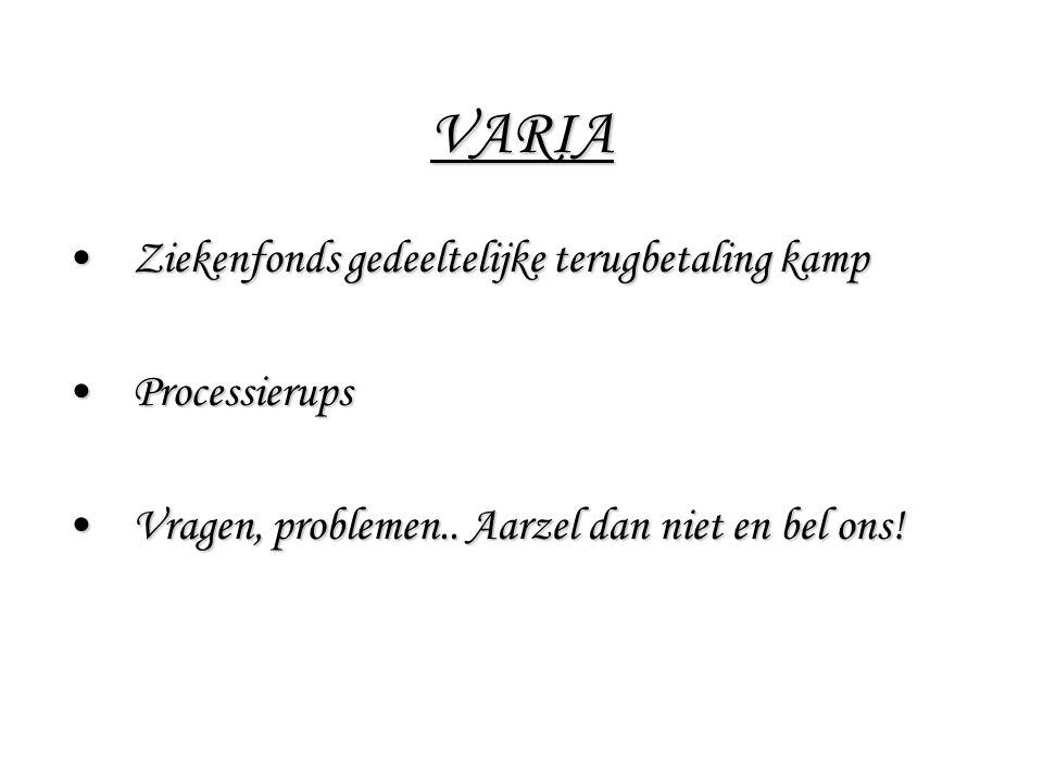 VARIA Ziekenfonds gedeeltelijke terugbetaling kamp Processierups
