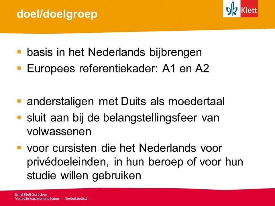 basis in het Nederlands bijbrengen Europees referentiekader: A1 en A2