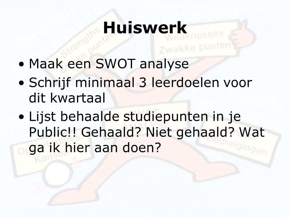 Huiswerk Maak een SWOT analyse