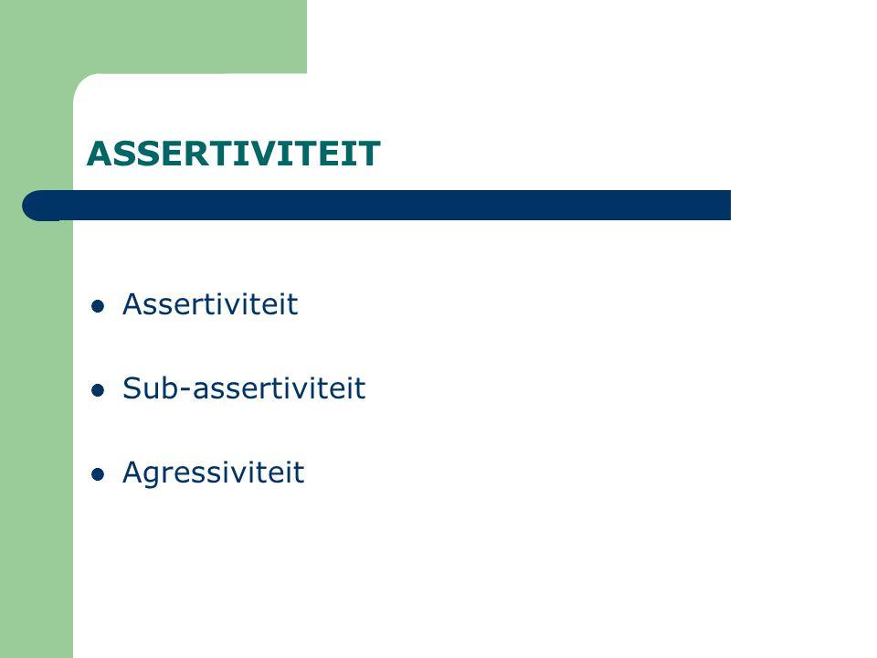 ASSERTIVITEIT Assertiviteit Sub-assertiviteit Agressiviteit