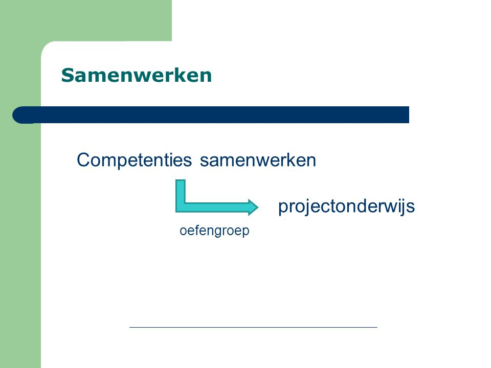 Samenwerken Competenties samenwerken projectonderwijs oefengroep