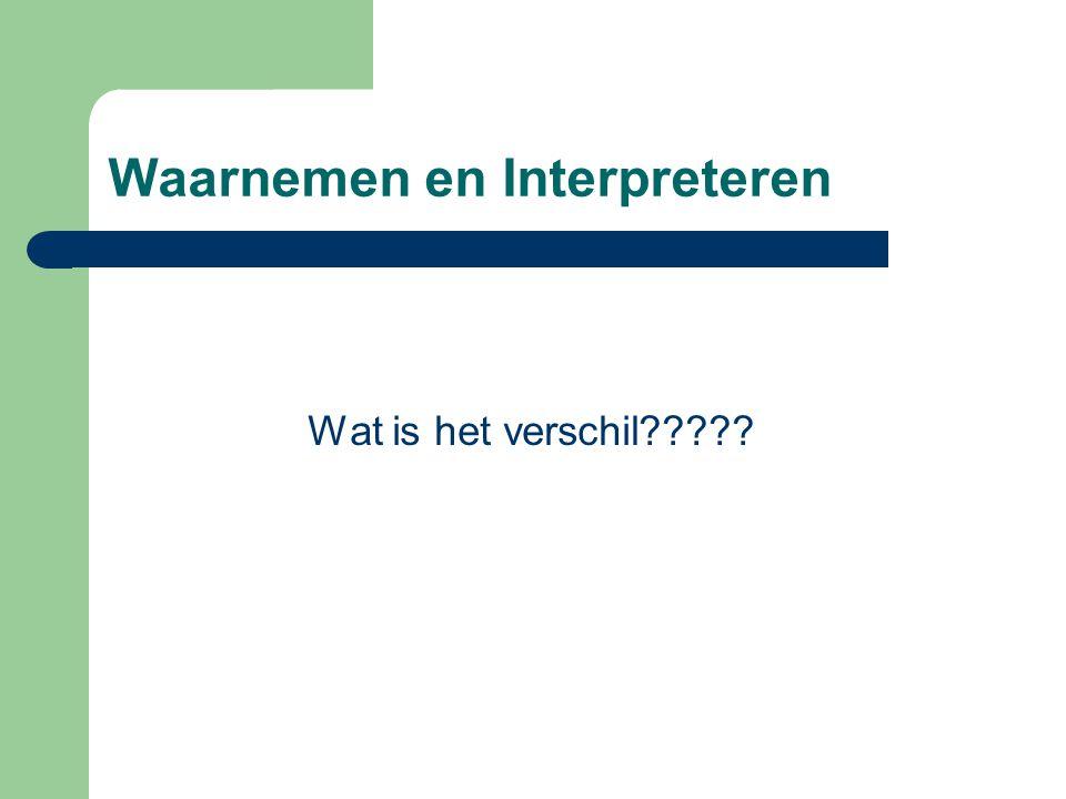 Waarnemen en Interpreteren