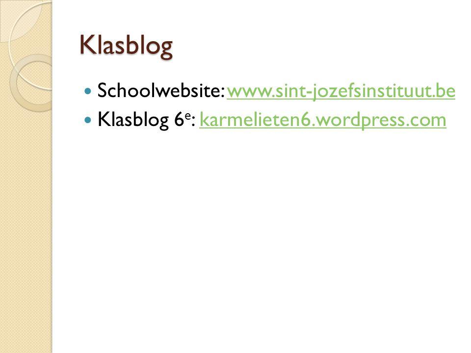 Klasblog Schoolwebsite: www.sint-jozefsinstituut.be