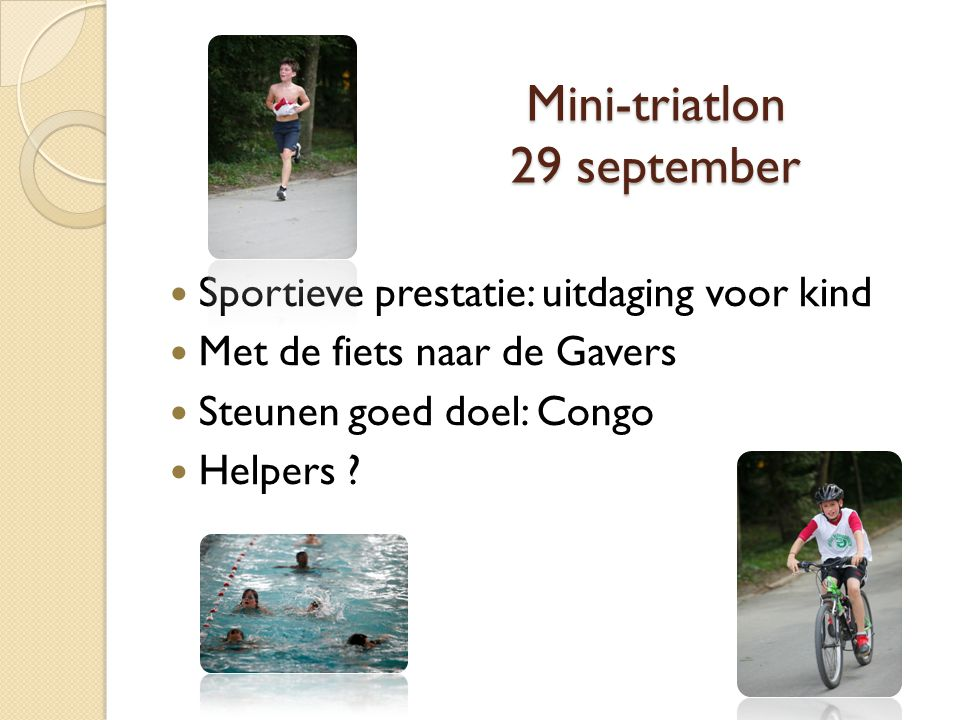 Mini-triatlon 29 september