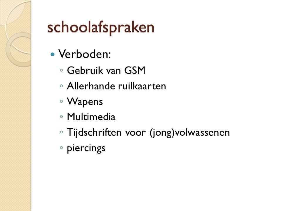 schoolafspraken Verboden: Gebruik van GSM Allerhande ruilkaarten
