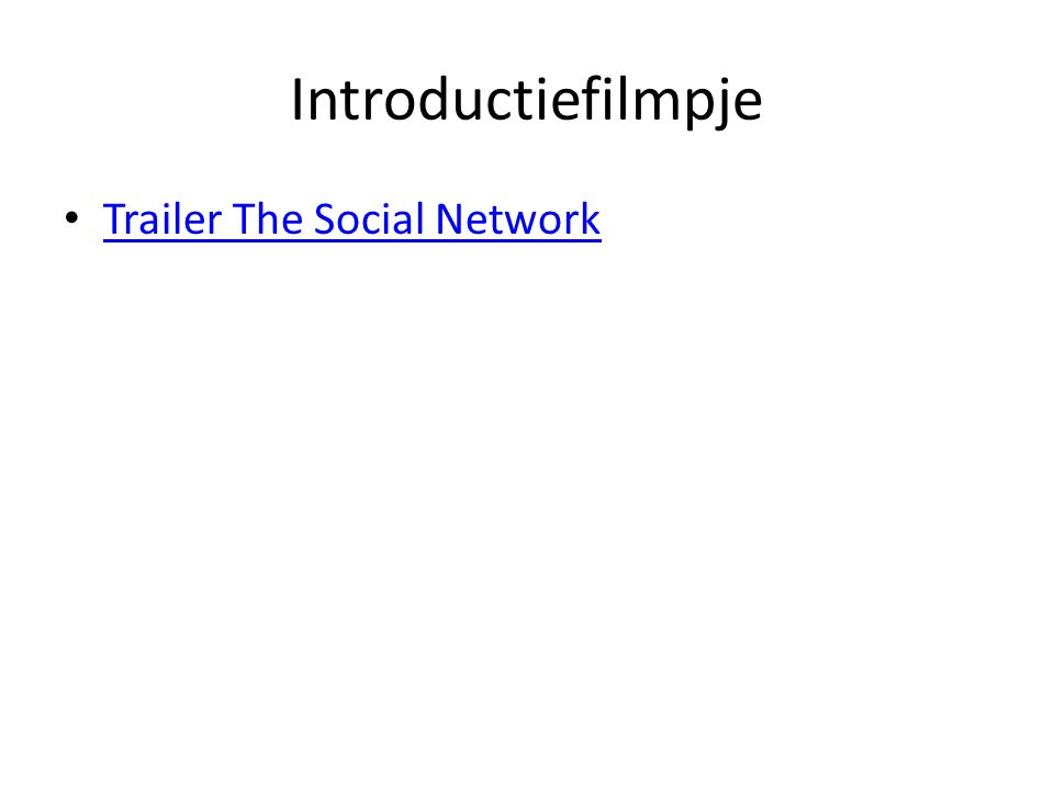 Introductiefilmpje Trailer The Social Network