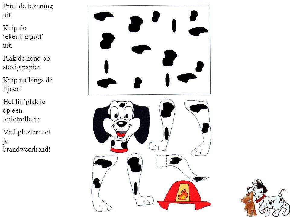 Print de tekening uit. Knip de tekening grof uit. Plak de hond op stevig papier. Knip nu langs de lijnen!