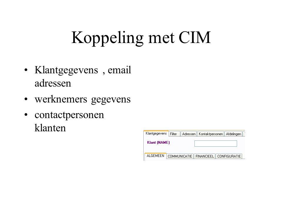 Koppeling met CIM Klantgegevens , email adressen werknemers gegevens
