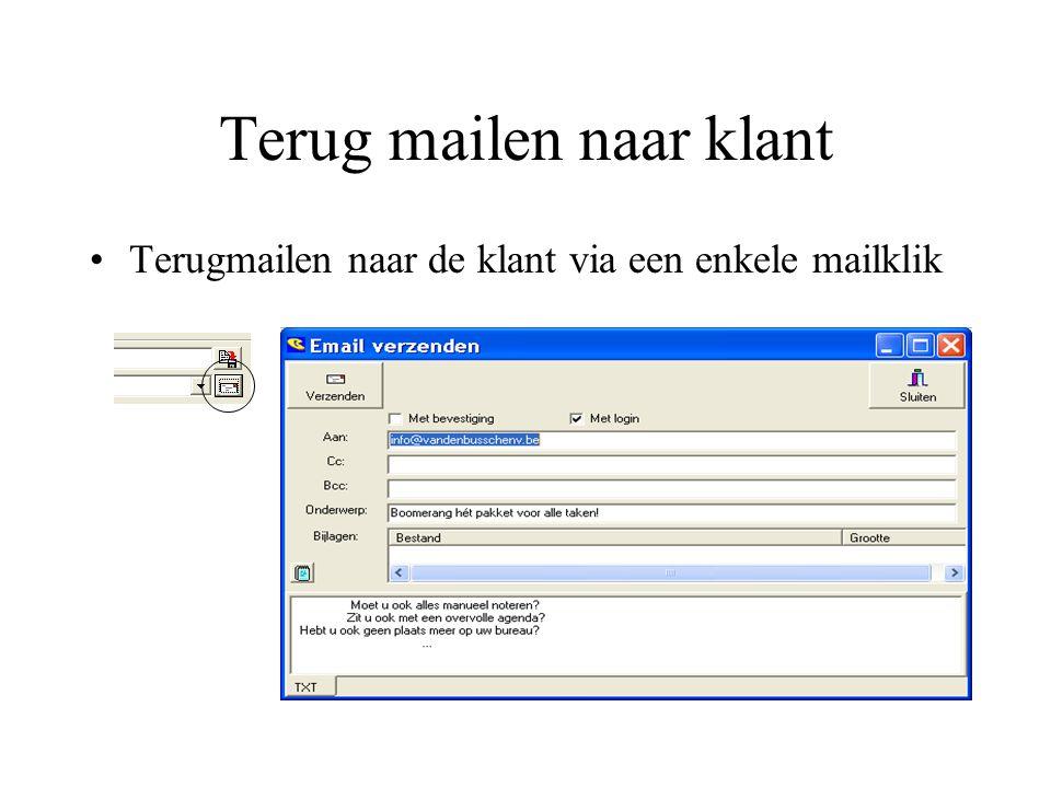 Terug mailen naar klant
