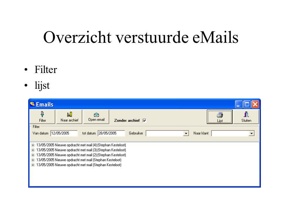 Overzicht verstuurde eMails