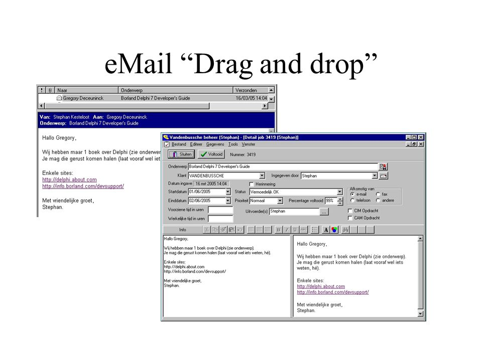 eMail Drag and drop