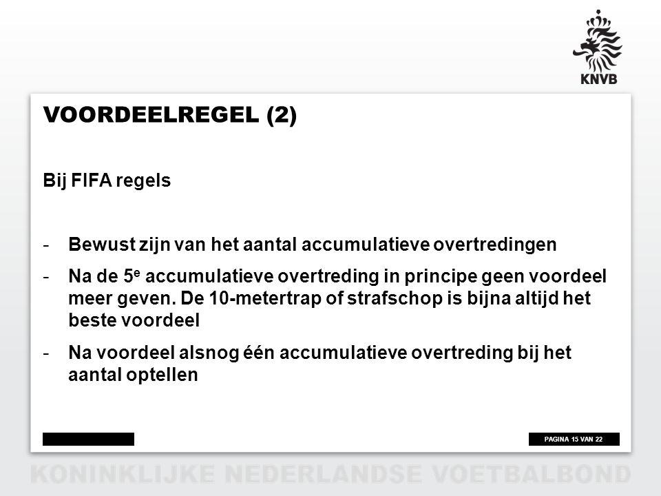 Voordeelregel (2) Bij FIFA regels