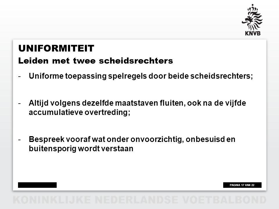 Uniformiteit Leiden met twee scheidsrechters