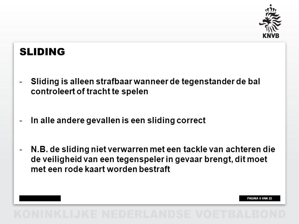 Sliding Sliding is alleen strafbaar wanneer de tegenstander de bal controleert of tracht te spelen.