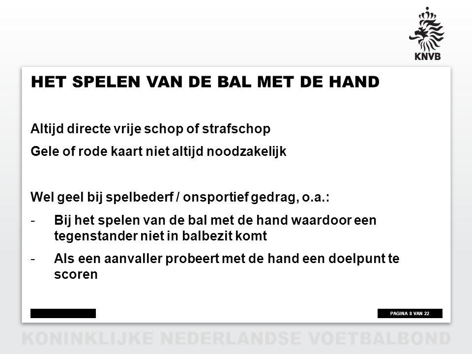 Het spelen van de bal met de hand