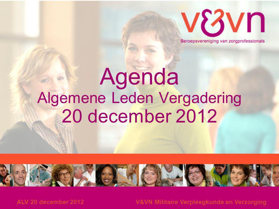 Agenda Algemene Leden Vergadering 20 december 2012