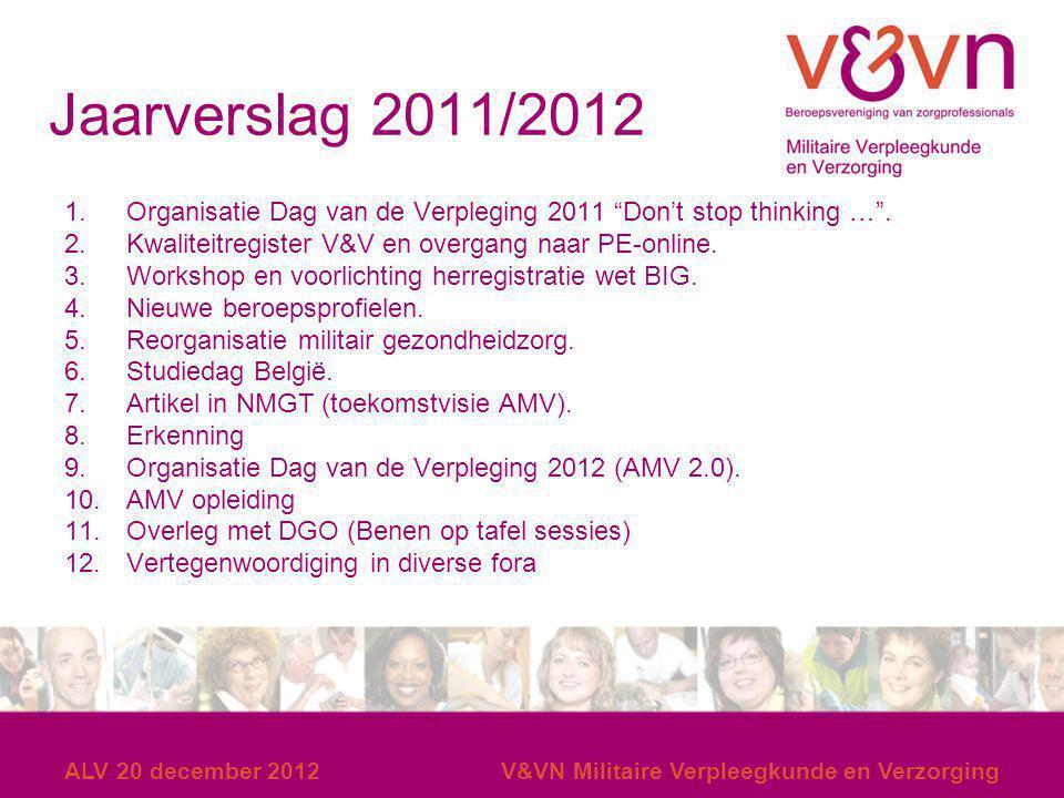 14 en 15 december 2007 Jaarverslag 2011/2012. Organisatie Dag van de Verpleging 2011 Don't stop thinking … .