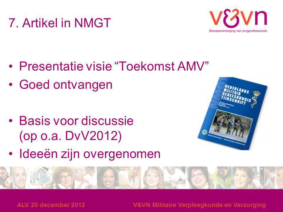 Presentatie visie Toekomst AMV Goed ontvangen