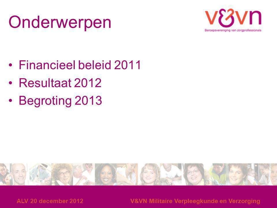 Onderwerpen Financieel beleid 2011 Resultaat 2012 Begroting 2013