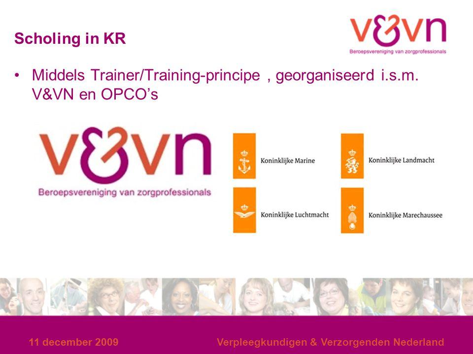 14 en 15 december 2007 Scholing in KR. Middels Trainer/Training-principe , georganiseerd i.s.m. V&VN en OPCO's.
